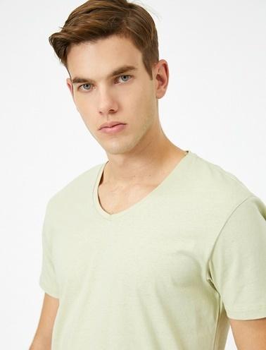 Koton V Yaka %100 Pamuk Slim Fit Basic T-Shirt Yeşil